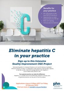 Advertising poster for the Eliminate hepatits C in general practice project