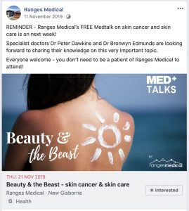 "A Facebook post advertising a Med+ talk at Ranges Medical called 'Beauty and the Beast: Skin cancer and skin care""."