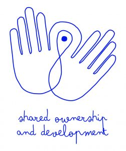 "Graphic of two hands with the words: ""Shared ownership and development."""