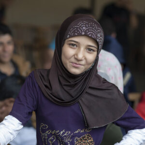 Portrait of a young refugee girl.
