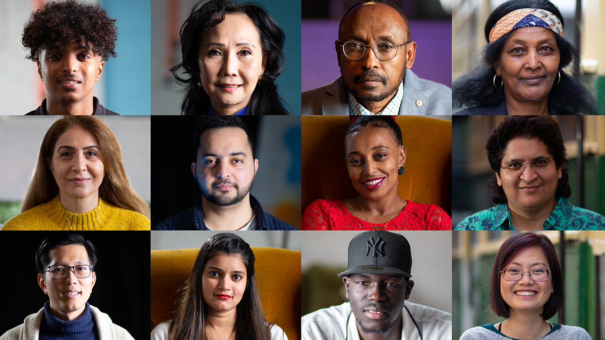 Collage of portrait photographs of diverse volunteers featured in our Goodbye COVID videos.