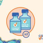 Australian Department of Health graphic featuring COVID-19 vaccines and Aboriginal and Torres Strait Islander artwork.