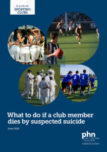 Front cover of our sporting club suicide postvention guide.