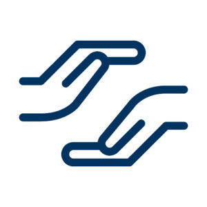 Icon of two hands representing suicide prevention.